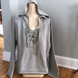 sanctuary gray lace-up hoodie, NWT, medium